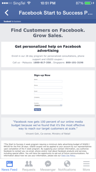 Facebook, please fix your Facebook for Business Sign Up page ...